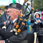 Kevin Kelley performs the bagpipes at the special event to celebrate the new the $2 million project that reinvents Lakewood's access to Lake Erie.