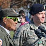 Hundreds of people showed up at Lakewood Park to honor veterans on Veterans Day on Wednesday.