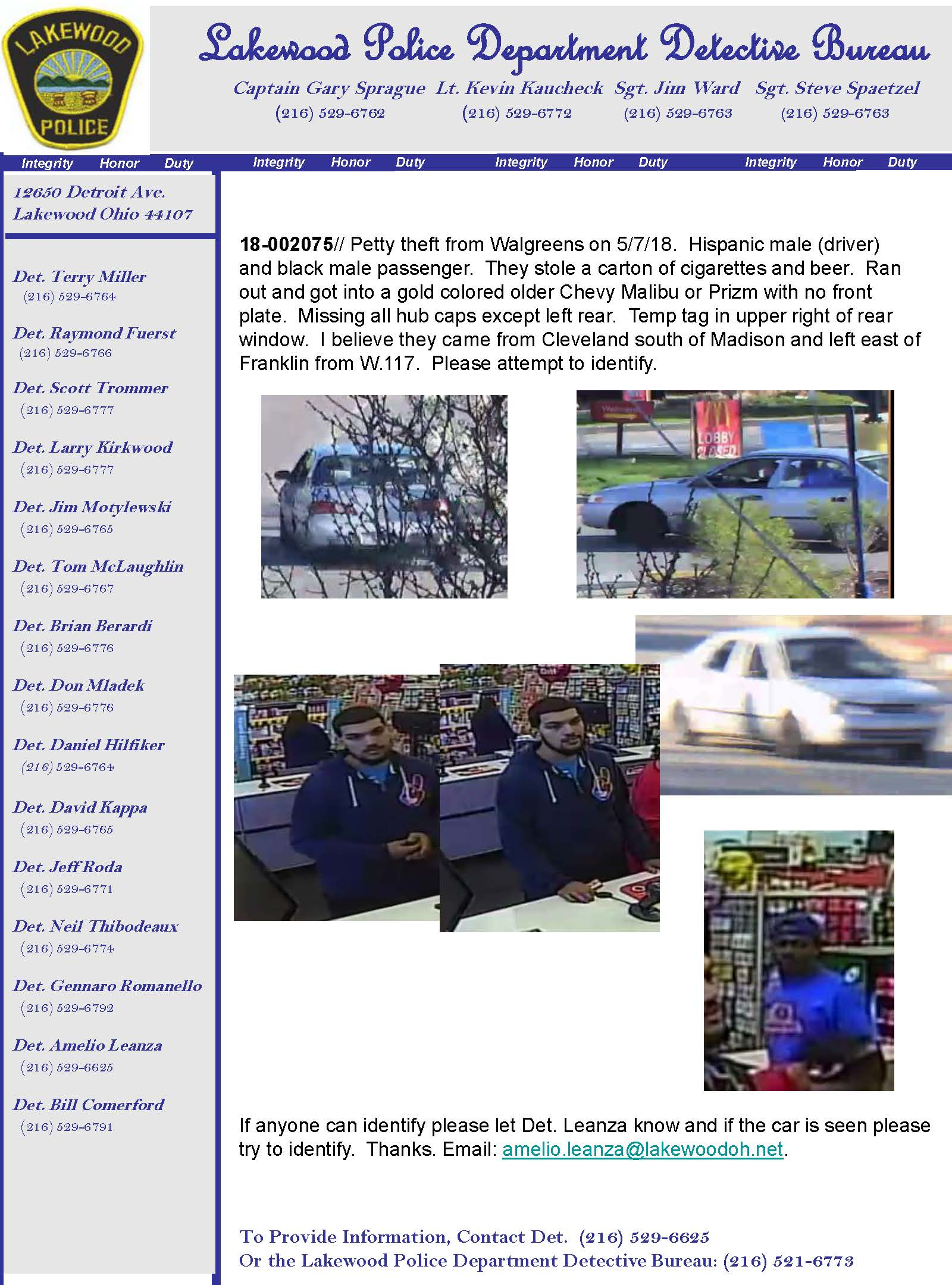 Law Enforcement Agencies Must Confirm The Wanted Status With Lakewood Police Department Prior To Arrest