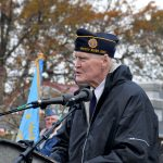 Korean War Veteran James Kilbane was Master of Ceremonies at the annual Veterans Day event at Lakewood Park on Friday, Nov. 11, 2016.