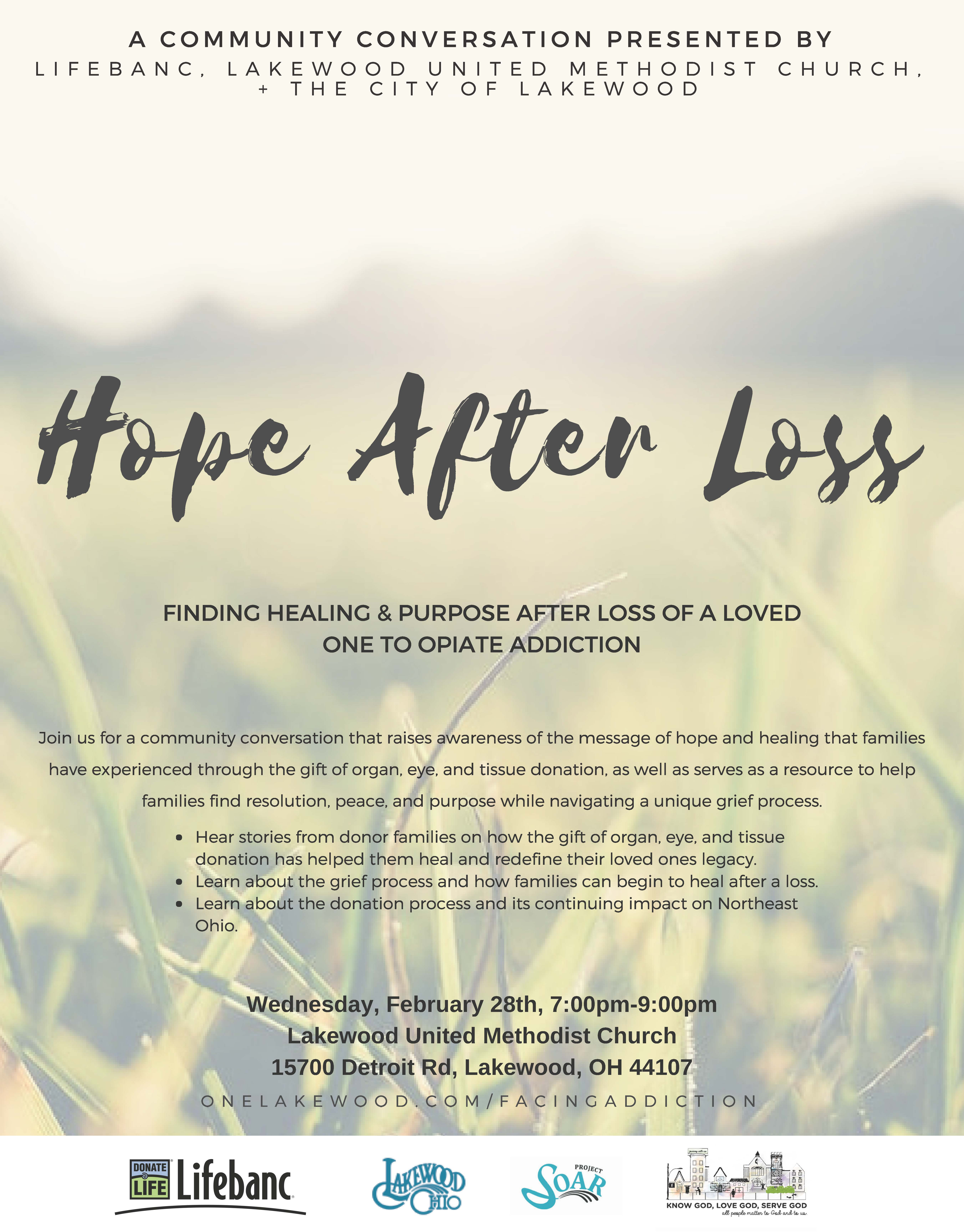 Hope After Loss Community Conversation The City of Lakewood